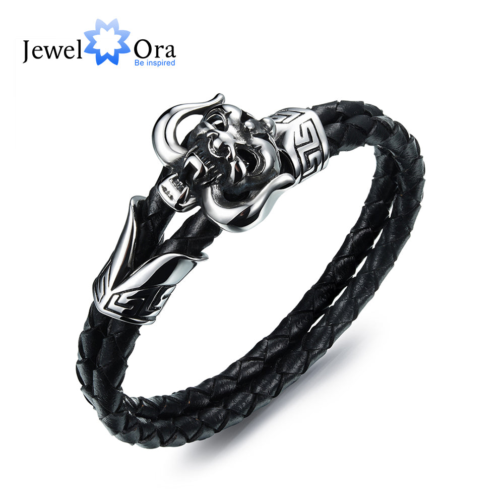 Stainless Steel Bracelets Double Black Cowhide Wristband Braided Rope Chain Skull Skeleton - £6.99