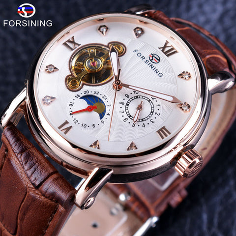 Forsining Luminous Hands Rose Gold Tourbillion Diamond Display Auto Mechanical Watch For Men - £35.00