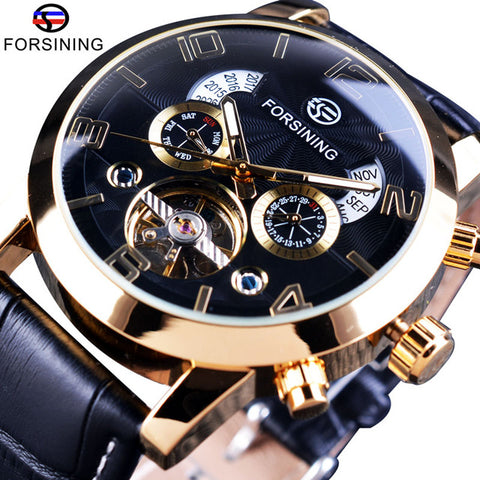 Forsining Tourbillion Wave Black Golden Multi Function Display Auto Mechanical Watch For Men - £45.00