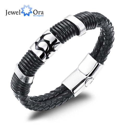Double Leather Stainless Steel Bracelets Cowhide Wristband Braided Rope Chain Magnetic Buckle - ShahShack