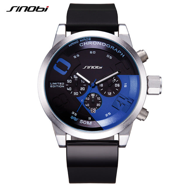 SINOBI Men Sports Waterproof Black Dial Chronograph Quartz Watch - £25.00