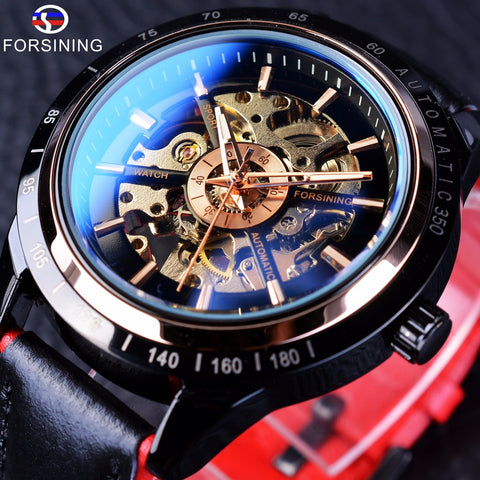 Forsining Transparent Genuine Red Black Belt Waterproof Skeleton Men Automatic Watch - £35.00