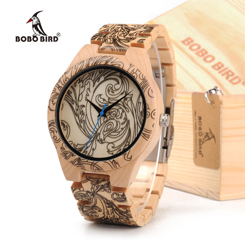 BOBOBIRD Tatto Print Wooden Watches Mens All Maple Wood Quartz Wristwatch in Wooden Box - ShahShack