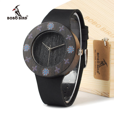 BOBOBIRD D25 Ebony Black Wood Women Dress Watch - ShahShack