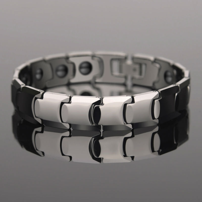 Silver Tones Tungsten Bracelet Inlay Magnetic Stone Adjustable length For Men - £50.00