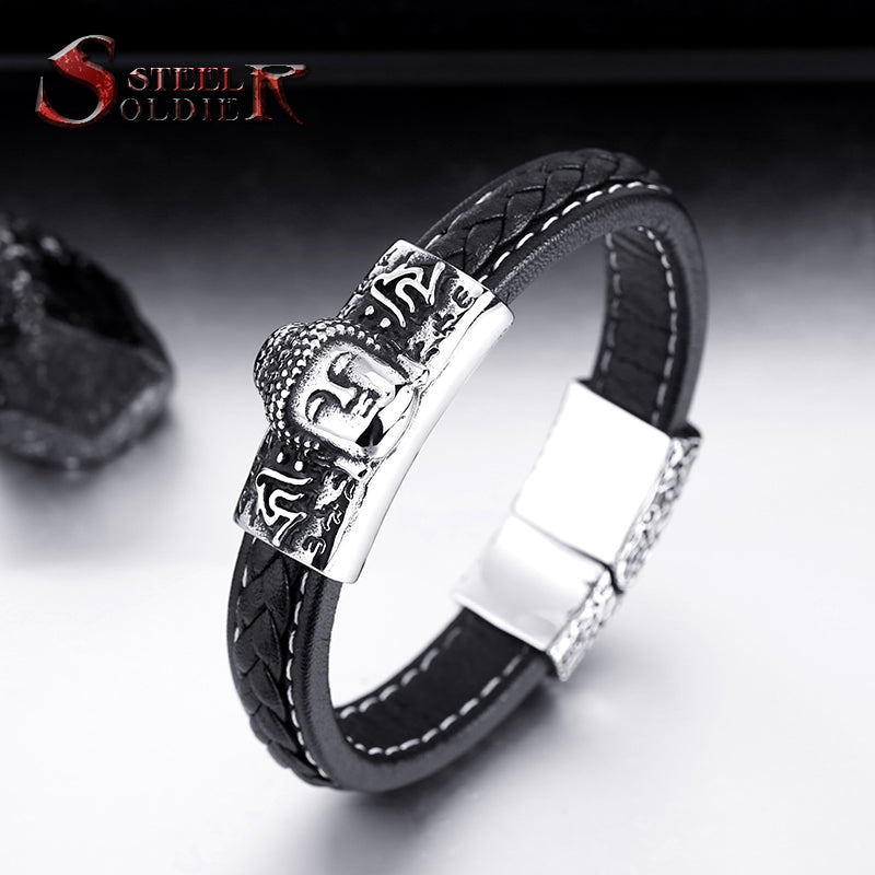 Steel soldier high Quality Buddha Man's Bracelet Bangle jewelry - £15.00