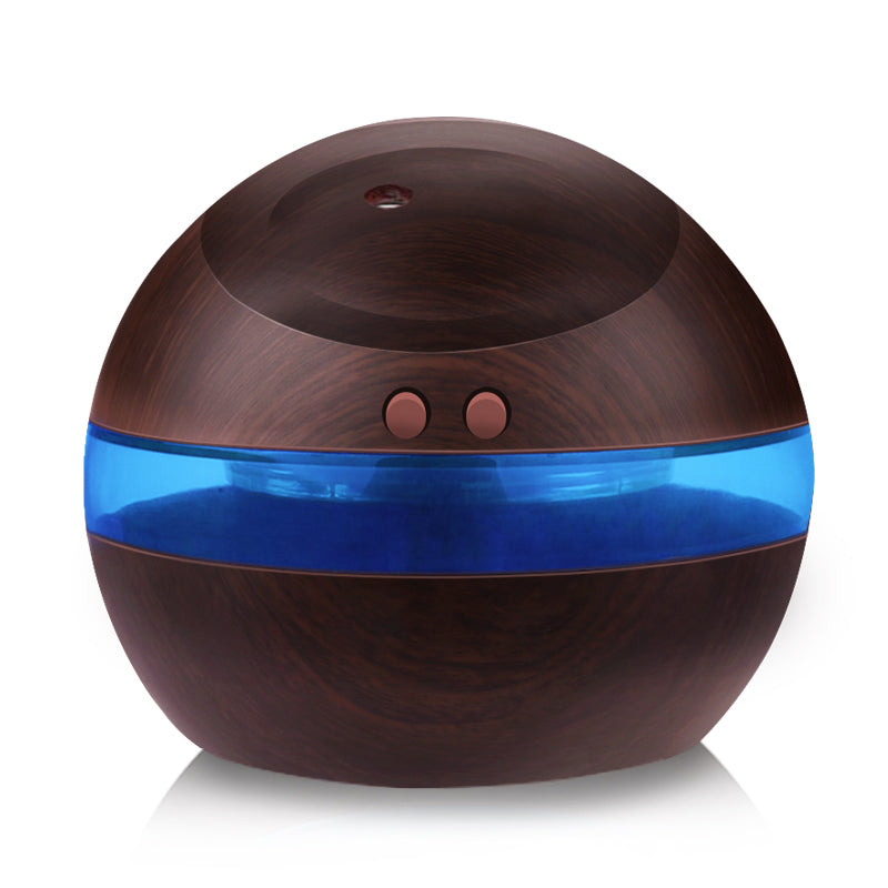 Ultrasonic Humidifier, 300ml Aroma Diffuser Oil Diffuser  Mist Maker With Blue LED Light (Dark Wood) - ShahShack