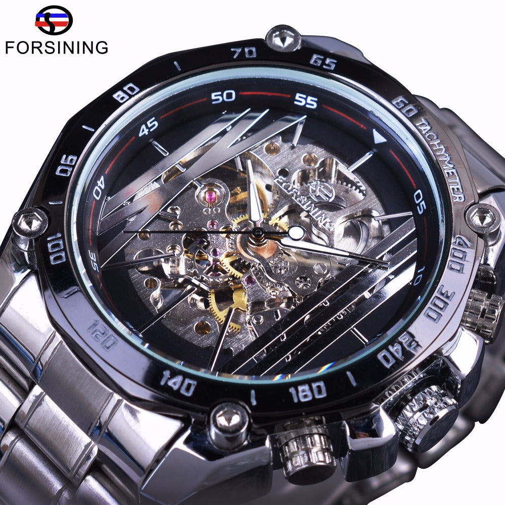 Forsining Military Sport Design Auto Transparent Silver Stainless Steel Skeleton Mechanical Watch - ShahShack