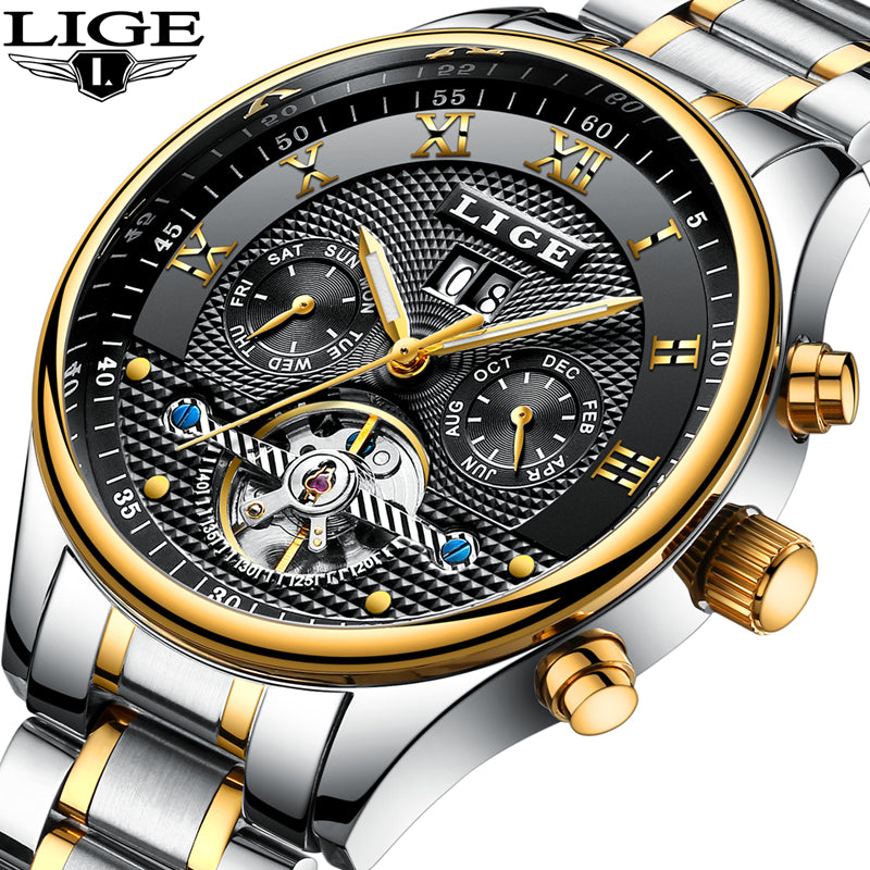 LIGE  Waterproof Mens Luxury Sport Mechanical Wristwatch - ShahShack