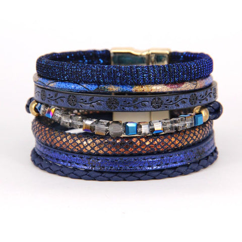 ZG 2017 Crystal Glass beads and PU leather Bracelet - £7.50
