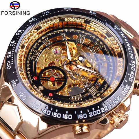 Forsining Stainless Steel Transparent Golden Movement Steampunk Mechanical Skeleton Watch - £40.00