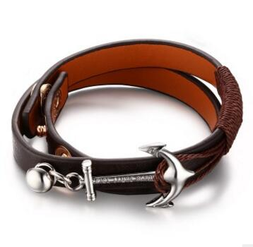Tom hope New Arrival Fashion Jewelry genuine Leather Bracelet Men Half Bend Anchor Bracelet - £12.50