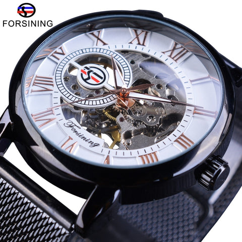 Forsining Openwork Mechanical Black Stainless Steel Transparent Case Fashion Luminous Watch - ShahShack