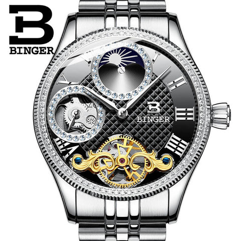 BINGER Moon Phase Mechanical Watch Tourbillon For Men - £100.00