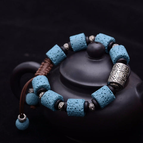 Blue Lava Bracelet with Om mani padme hum for Unisex Bracelet Thai hand rope New - ShahShack