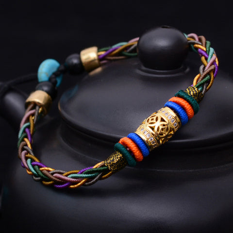 Metal Switch luck bead Eight strands of rope for Unisex  Bracelet Thai hand rope New - ShahShack