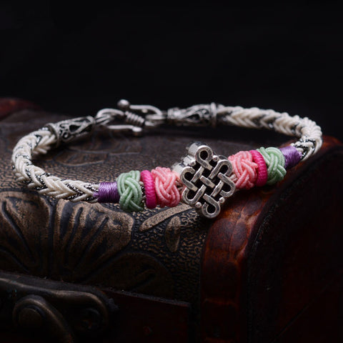 Tibetan Silver Luck Chinese knot Bracelet Thai Hand Rope New - £20.00