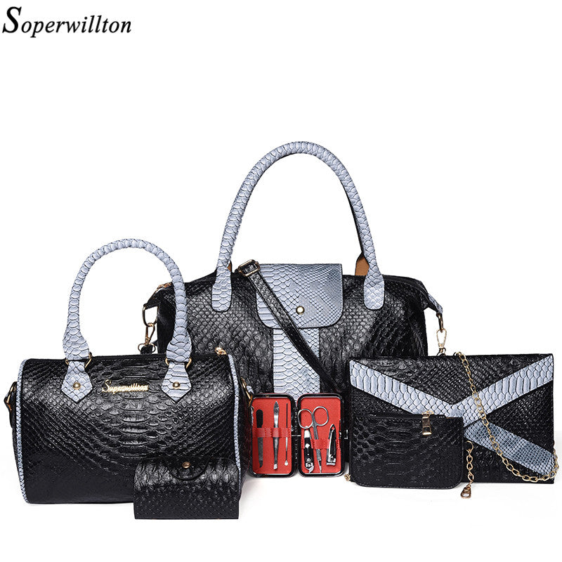 Soperwillton Luxury Women Bag and Wallet Alligator Patchwork Set - ShahShack