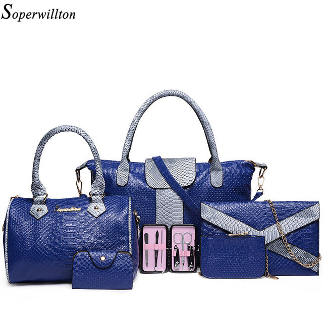Soperwillton Luxury Women Bag and Wallet Alligator Patchwork Set - £119.99
