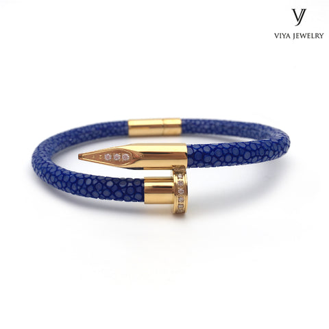 Nail Bracelet Zircon Genuine Blue Stingray Leather Customize Fashion Nail Bracelet With Gift Box - £145.00