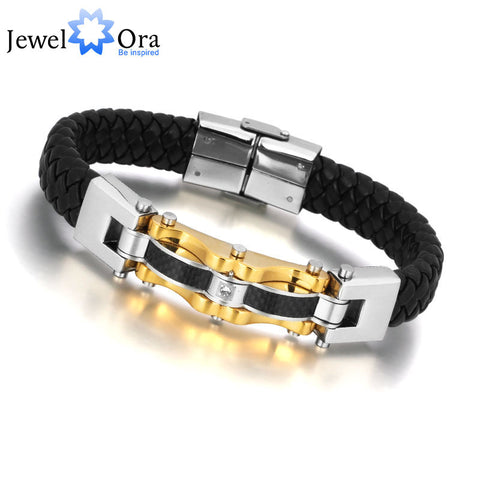 Luxury Brand New Jewelry Golden Men Bracelet  Wrap Stainless Steel Charm Leather Bracelet - ShahShack