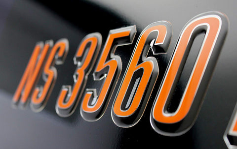ORANGE JET SKI LETTERING DOMED NUMBERS