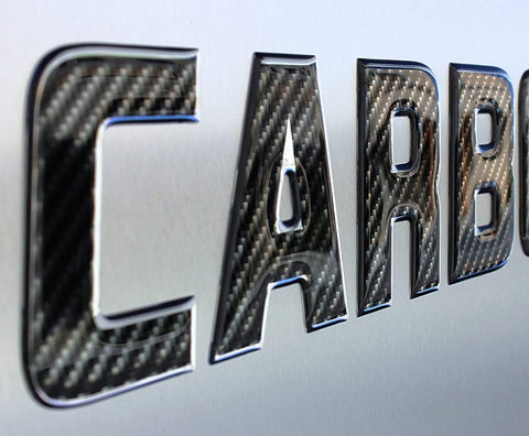 Carbon Fiber Textured Domed Lettering