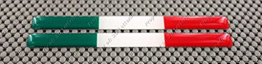"Italy Flag Raised Clear Domed Lens Decal Set 5""x 0.5"""