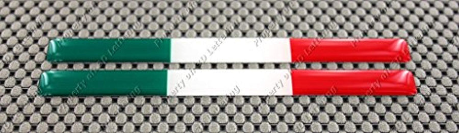"Italy Flag Raised Clear Domed Lens Decal Mini Set 3.5""x 0.35"""