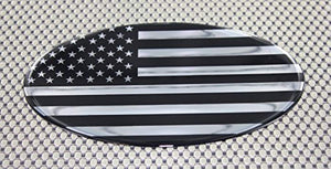 "USA Flag Monochrome Raised Clear Domed Lens Decal Oval 6""x 3.5"""