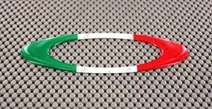 "Italy Flag Raised Clear Domed Lens Decal Oval 4.95""x 1.75"""