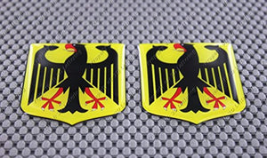 "Germany Flag Crest Raised Clear Domed Lens Decal 2""x 2.36"""