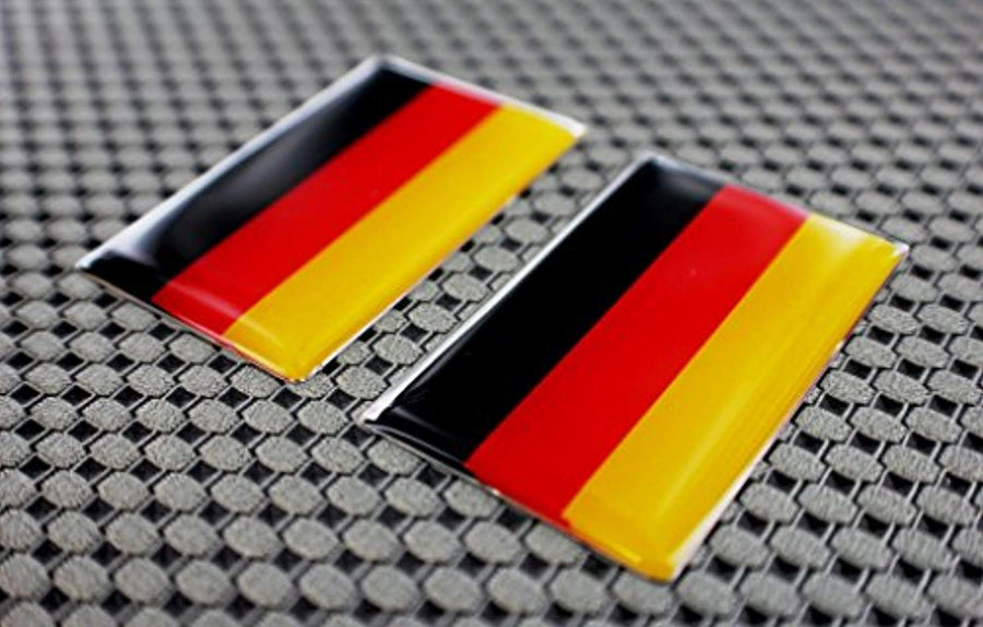 "Germany Flag Raised Clear Domed Lens Decal Set 2""x 1.2"""