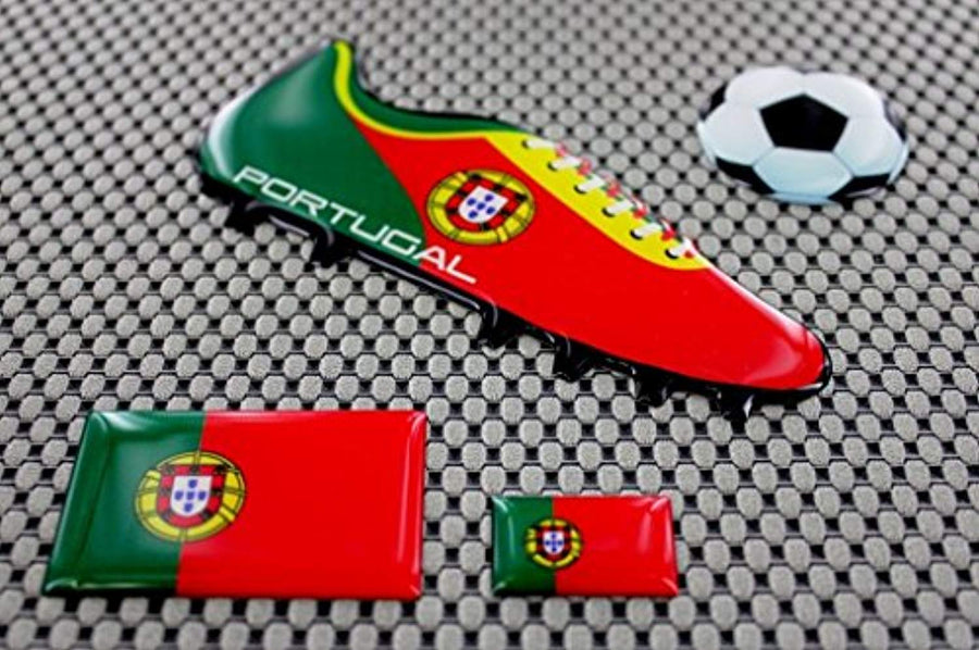 Portugal Euro Cup Soccer Shoe Raised Clear Domed Lens Decals (4 Piece Set)
