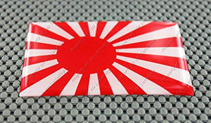Japan Rising Sun Flag Raised Clear Domed Lens Decal  旭日旗