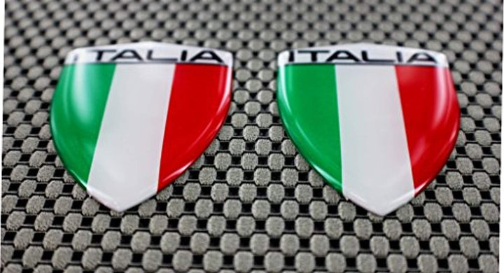 "Italy Italia Flag Raised Clear Domed Lens Decal Set 1.6""x 2.16"""