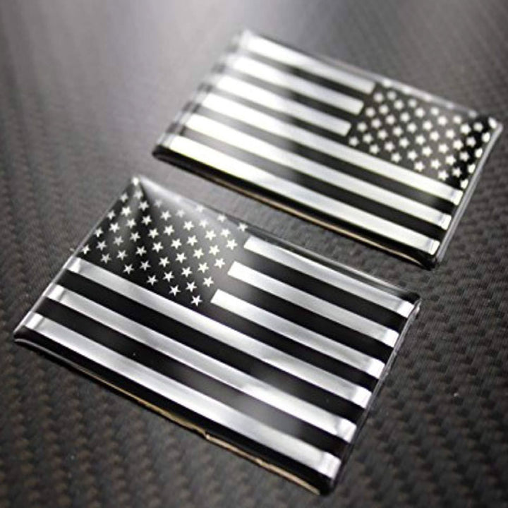 "USA Flag Monochrome Raised Clear Domed Lens  Decal Set (Left & Right) 3.75""x 2"""