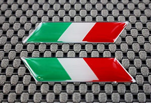 "Italy Flag Chrome outline Raised Clear Domed Lens Slanted Decal Set (Left & Right) 2""x 0.5"""