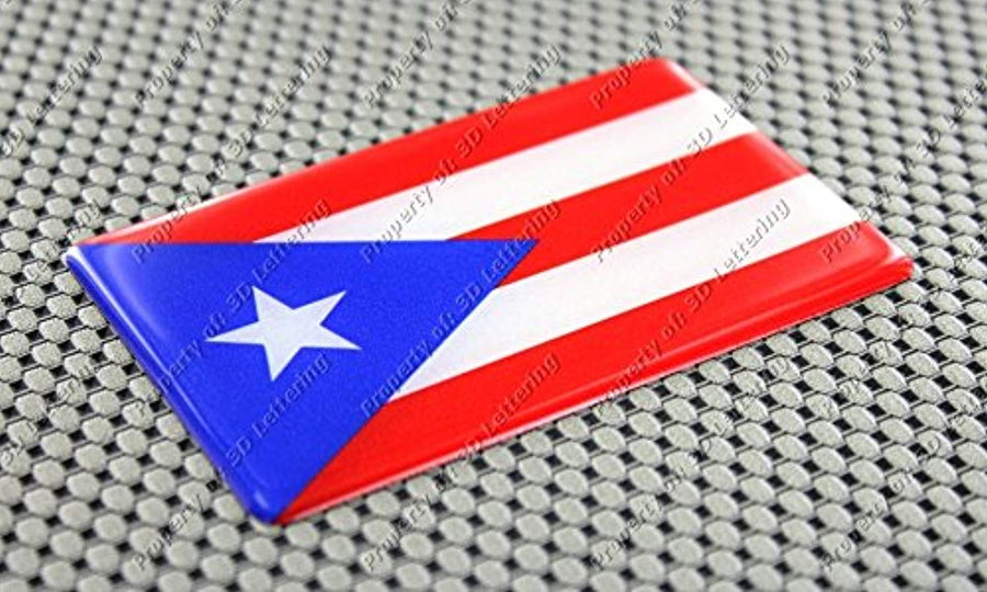Puerto Rico Flag Raised Clear Domed Lens Decal