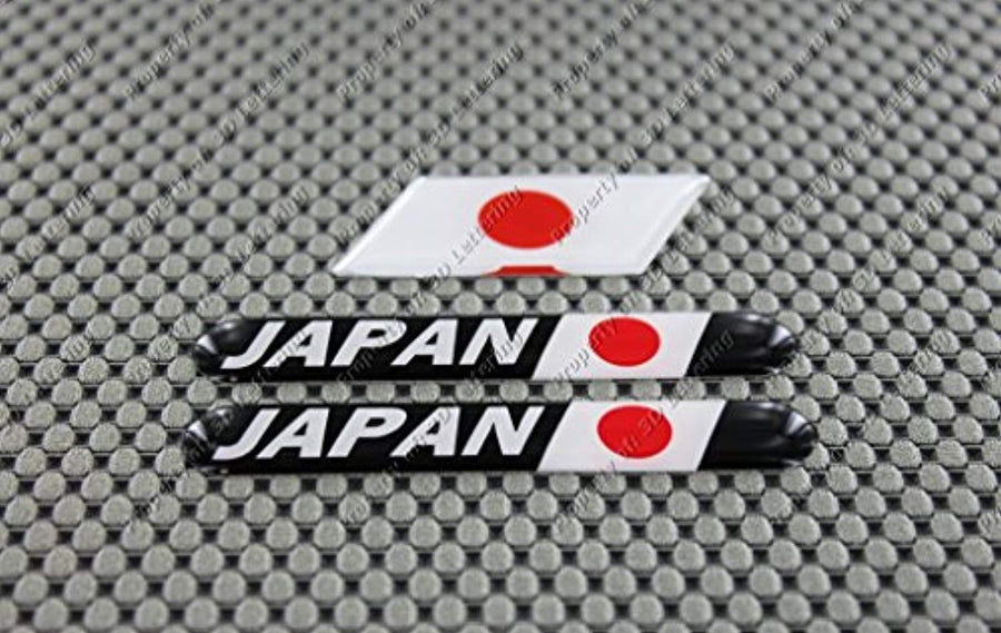 Japan Flag Raised Clear Domed Lens Decal (3 Piece Set) 日本国