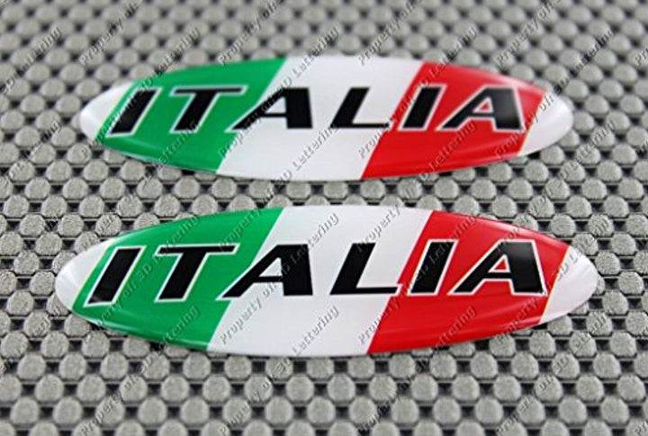 "Italy Italia Flag Raised Clear Domed Lens Decal Set Oval 3""x 1.25"""