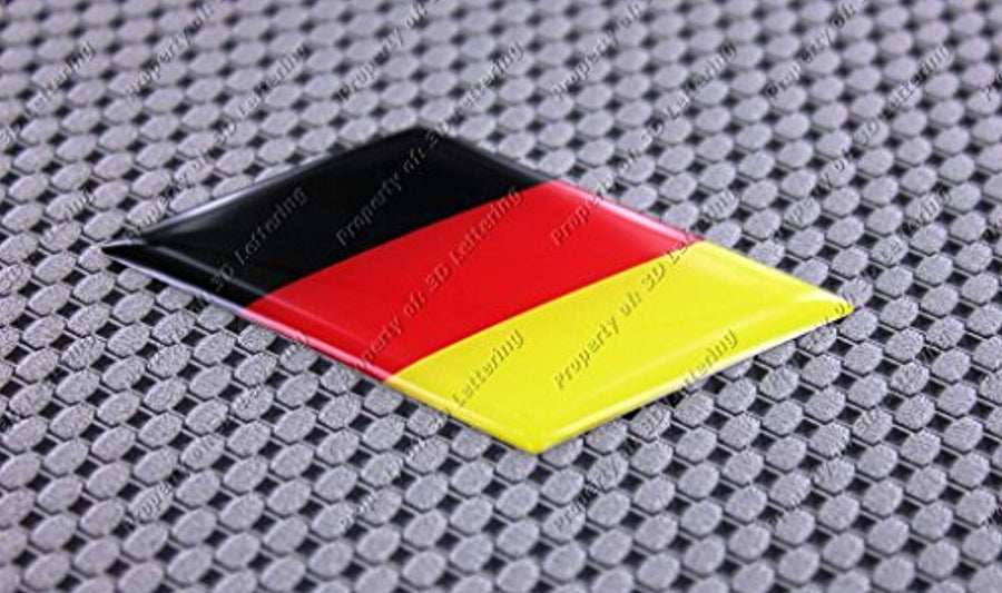 "Germany Flag Raised Clear Domed Lens Decal Slanted 3""x 1.5"""