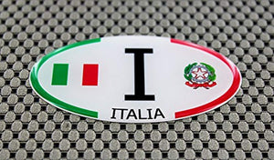 "Italy Italia Flag Raised Clear Domed Lens Decal Oval 3""x 1.75"""