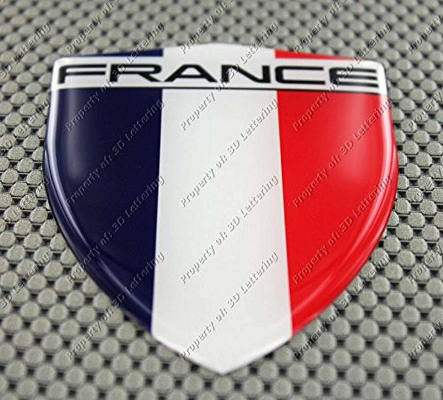 "France Flag Raised Clear Domed Lens Decal 3.13""x 4.33"""
