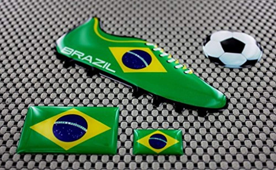 Brazil World Cup Soccer Shoe Raised Clear Domed Lens Decal (4 Piece Set)