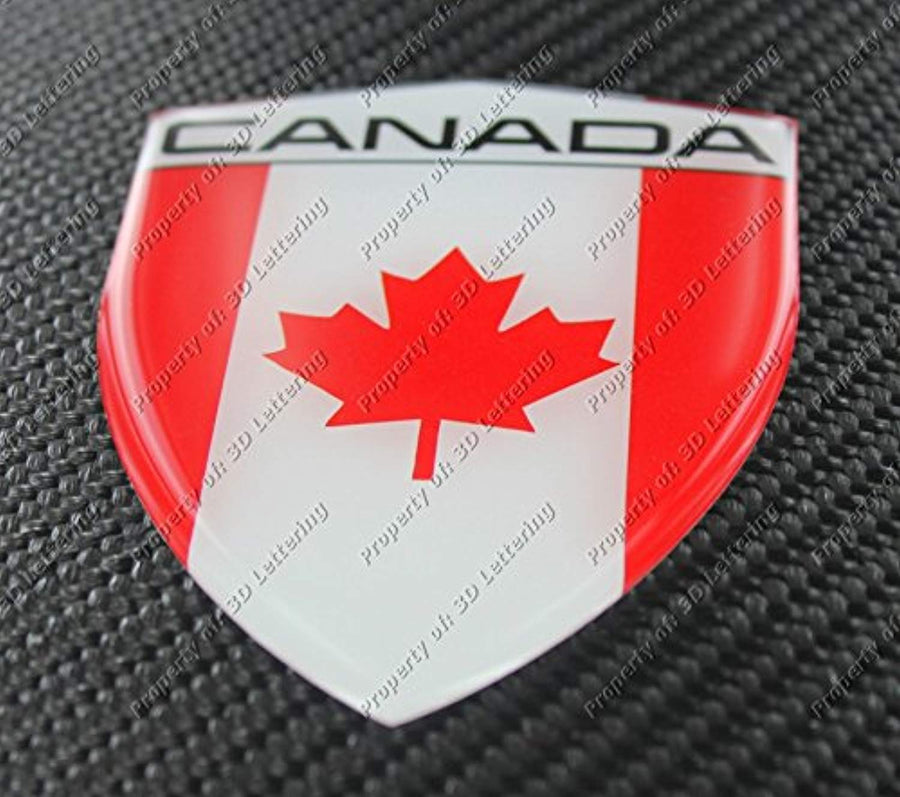 "Canada Flag Raised Clear Domed Lens Decal 4.39""x 3.29"""