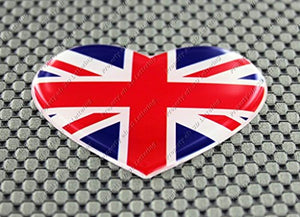 "England UK Union Jack Heart Flag Raised Clear Domed Lens Decal 2.65""x 2.25"""