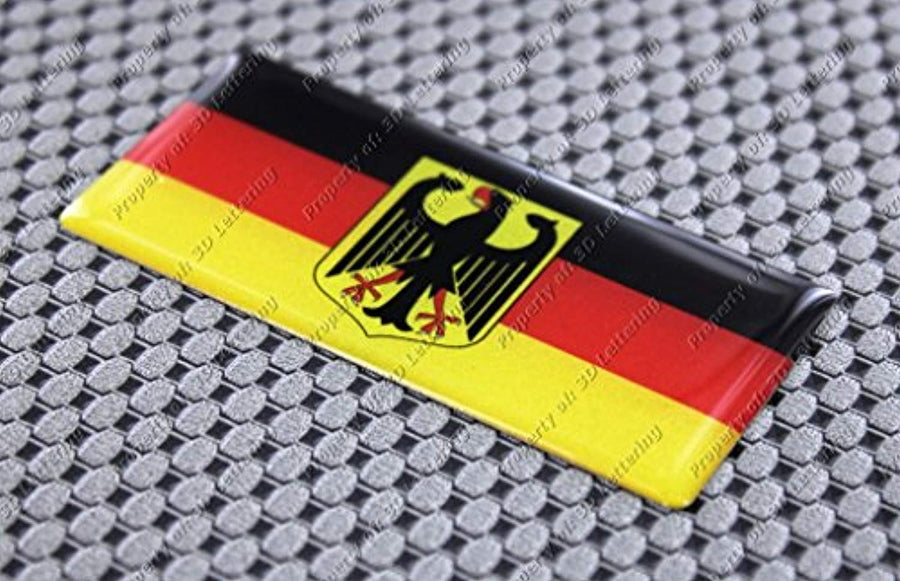 "Germany Flag Raised Clear Domed Lens Decal 3""x 1.4"""