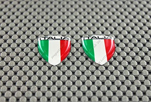 "Italy Italia Flag Raised Clear Domed Lens Decal Mini Set 1.08""x 0.8"""