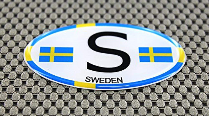 Sweden Flag Raised Clear Domed Lens Decal Oval
